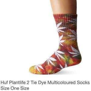 HUF plant life tie dye socks lightly worn